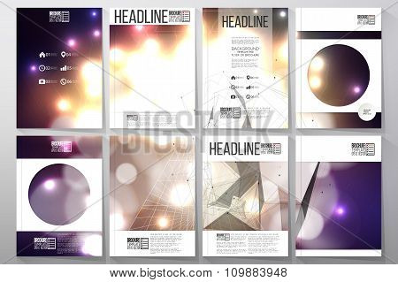 Set of business templates for brochure, flyer or booklet. Abstract multicolored background with boke