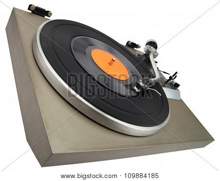 Angle View Of Vintage Turntable Isolated With Clipping Path