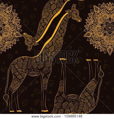 Beautiful adult Giraffe. Hand drawn Illustration of ornamental giraffe.  isolated giraffe on dark ba