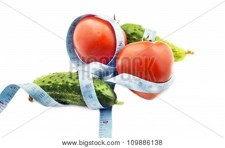Tomato And Cucumber With Measuring Tape - A Symbol Of Fitness