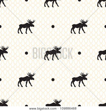 Deer vector seamless pattern with retro dots.