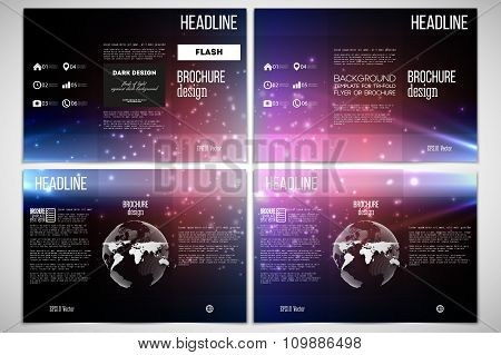 Vector set of tri-fold brochure design template on both sides with world globe element. Flashes agai