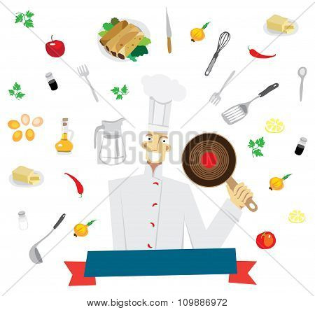 Cute and funny chef surrounded by various foods