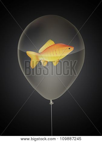 vector goldfish in a balloon