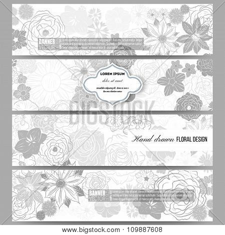Set of modern banners. Hand drawn floral doodle pattern, abstract vector background