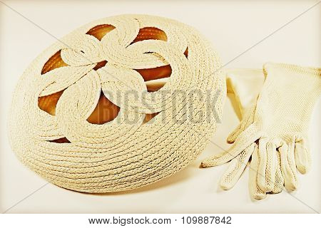 Vintage Straw Bonnet