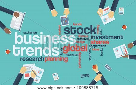 Business trends flat design infographics with word cloud. Global data analysis and research presenta
