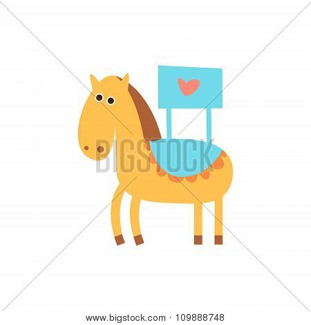 Cute horse with a sign for text