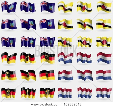 Montserrat, Brunei, Germany, Netherlands. Set Of 36 Flags Of The Countries Of The World.