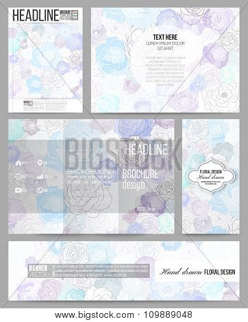 Set of business templates for presentation, brochure, flyer, banner or booklet. Hand drawn floral do