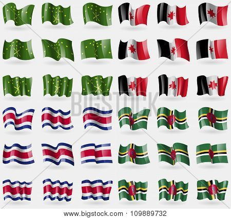 Adygea, Udmurtia, Costa Rica, Dominica. Set Of 36 Flags Of The Countries Of The World.