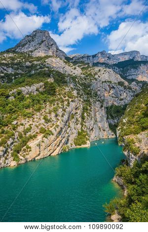 The rocky slopes of the canyon dramatically narrowed in the Upper Verdon. Mercantour National Park, Provence