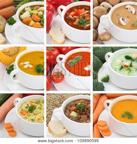Collection Of Soups Soup Tomato Vegetable Noodle Closeup Healthy Eating