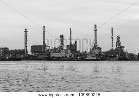Oil refinery river front (Black and  White)