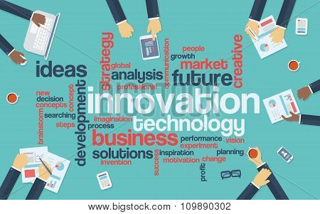 Technology innovation flat design infographics with word cloud. Global data analysis and research pr