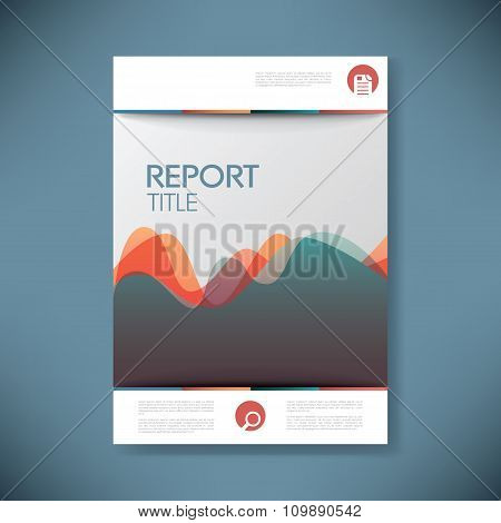 Report cover template for business presentation or brochure. Abstract waves pattern shape symbol vec