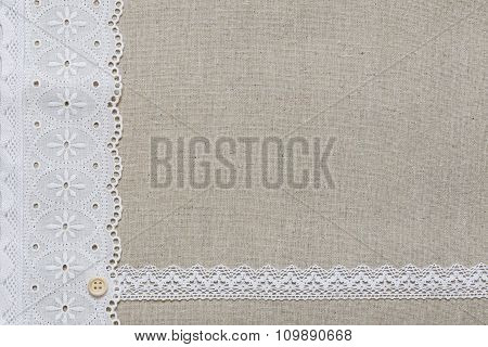 Natural Linen Texture With White Lace