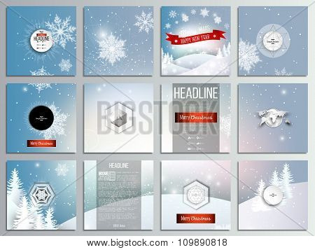 Set of 12 creative cards, square brochure template design. Christmas greeting card. Merry Xmas and h