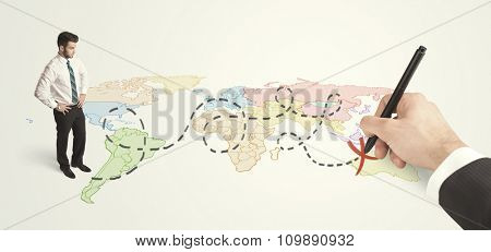 Businessman looking at map and route drawn by hand concept on background