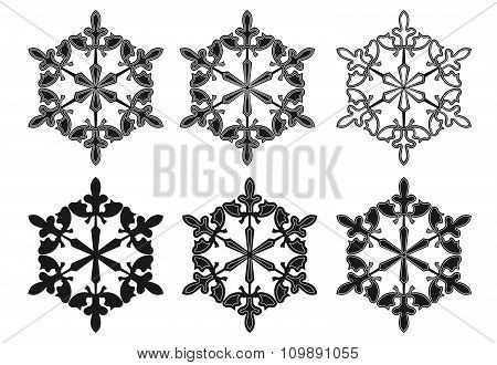 Vector Set Of Snowflake Silhouettes On White Background