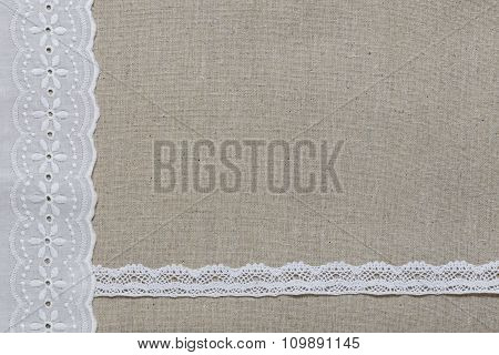 Natural Linen Texture With White Lace And Ribbon