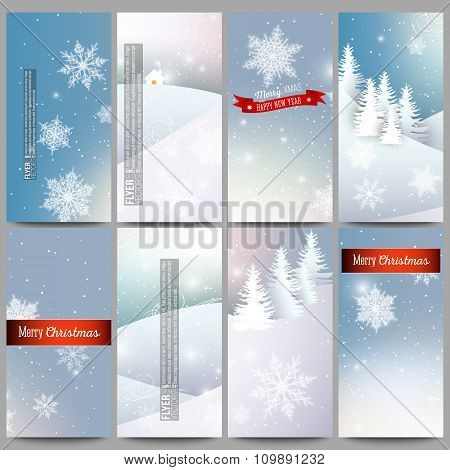 Set of modern flyers. Merry Christmas and happy New Year vector background