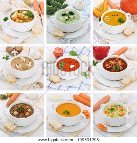 Collection Of Soups Soup Tomato Vegetable Noodle With Baguette Healthy Eating