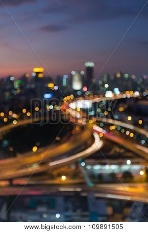 City blurred bokeh lights night view