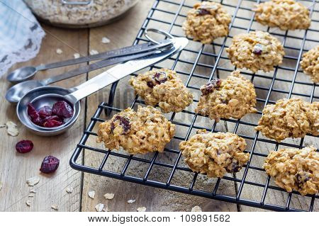 Fresh Baked Homemade Oatmeal Cookies With Cranberry