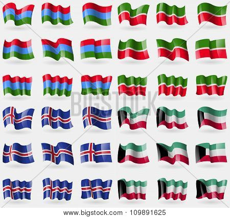 Karelia, Tatarstan, Iceland, Kuwait. Set Of 36 Flags Of The Countries Of The World.