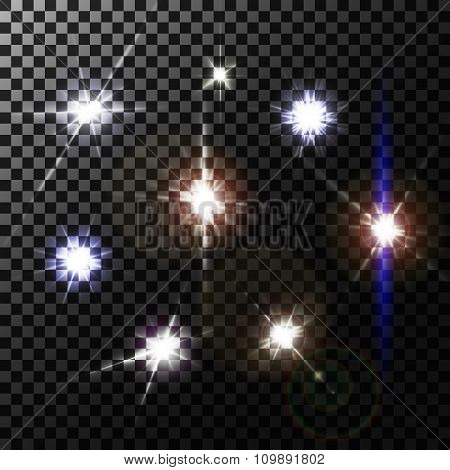 Set of lens flares on transparent background, vector illustration