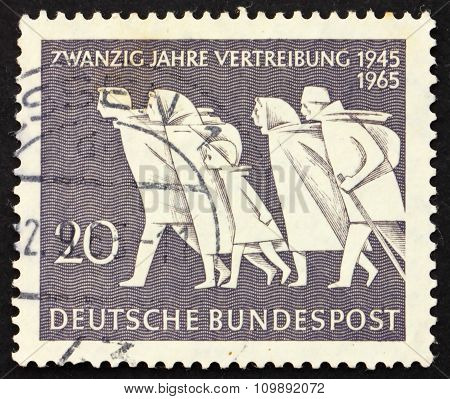 Postage Stamp Germany 1965 Family In Flight