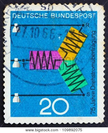Postage Stamp Germany 1966 Diagram Of Three-phase Transmission