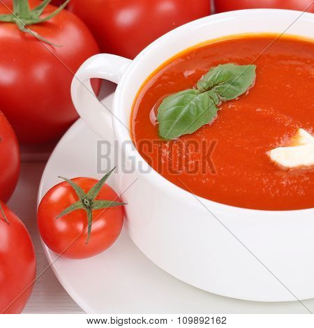 Tomato Cream Soup With Tomatoes In Bowl Healthy Eating