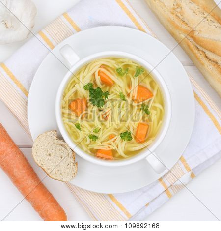 Noodle Soup In Bowl With Baguette And Noodles Healthy Eating
