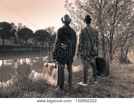 Two best friends are ready for adventure - Travelling and fashion vintage concept - Black and White