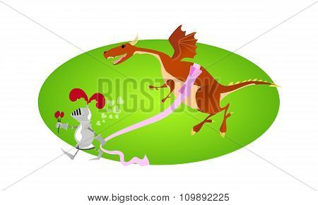 Funny knight and big gift for Valentine day on green frame