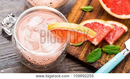 Grapefruit cocktail in a glass