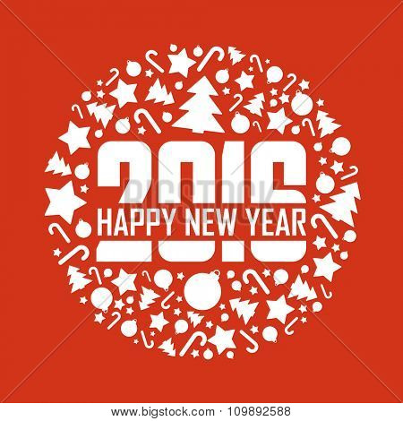 2016 Happy New Year greeting card.Vector illustration.
