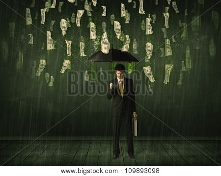 Businessman standing with umbrella in dollar bill rain concept on background