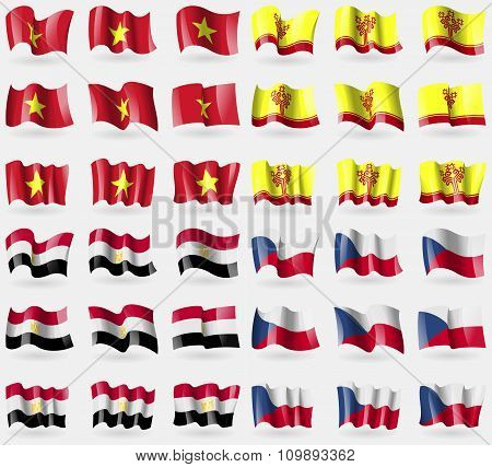 Vietnam, Chuvashia, Egypt,  Czech Republic. Set Of 36 Flags Of The Countries Of The World.