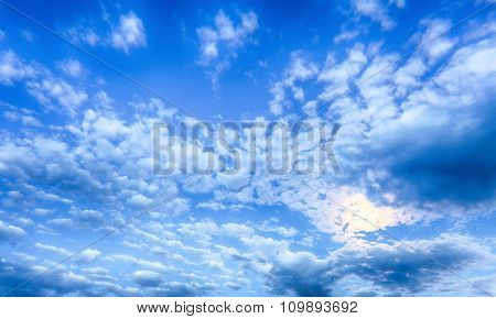 Blue Sky At Night With Moon And Clouds