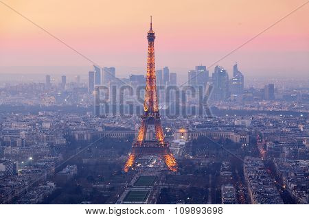 Paris City With Eiffel Tower At Dusk, Cityspace
