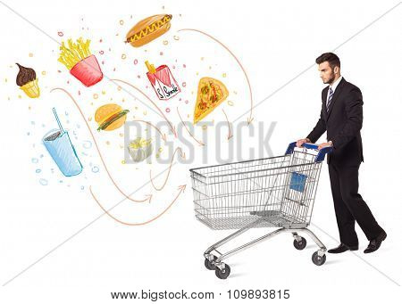 Businessman pushing a shopping cart and toxic junk food and cigarettes coming out of it