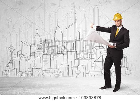 Construction worker with cityscape background drawing