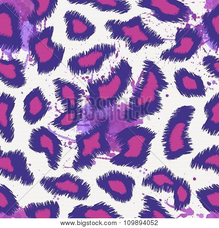 Vector Cute Seamless Pattern With Animal Skin And Watercolor Splashes