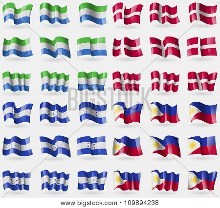 Siearra Leone, Denmark, Honduras, Phillippines. Set Of 36 Flags Of The Countries Of The World.