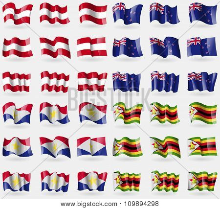 Austria, New Zeland, Saba, Zimbabwe. Set Of 36 Flags Of The Countries Of The World.