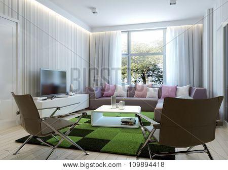Art deco style living room. 3d render