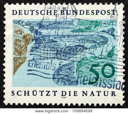 Postage Stamp Germany 1969 Riverbed, Nature Protection